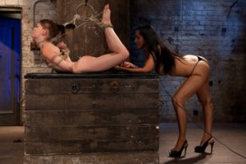 Extreme-reverse-Prayer-Category-5-Hogtied-Tying-done-on-screen-Former-Disney-star-made-to-cum